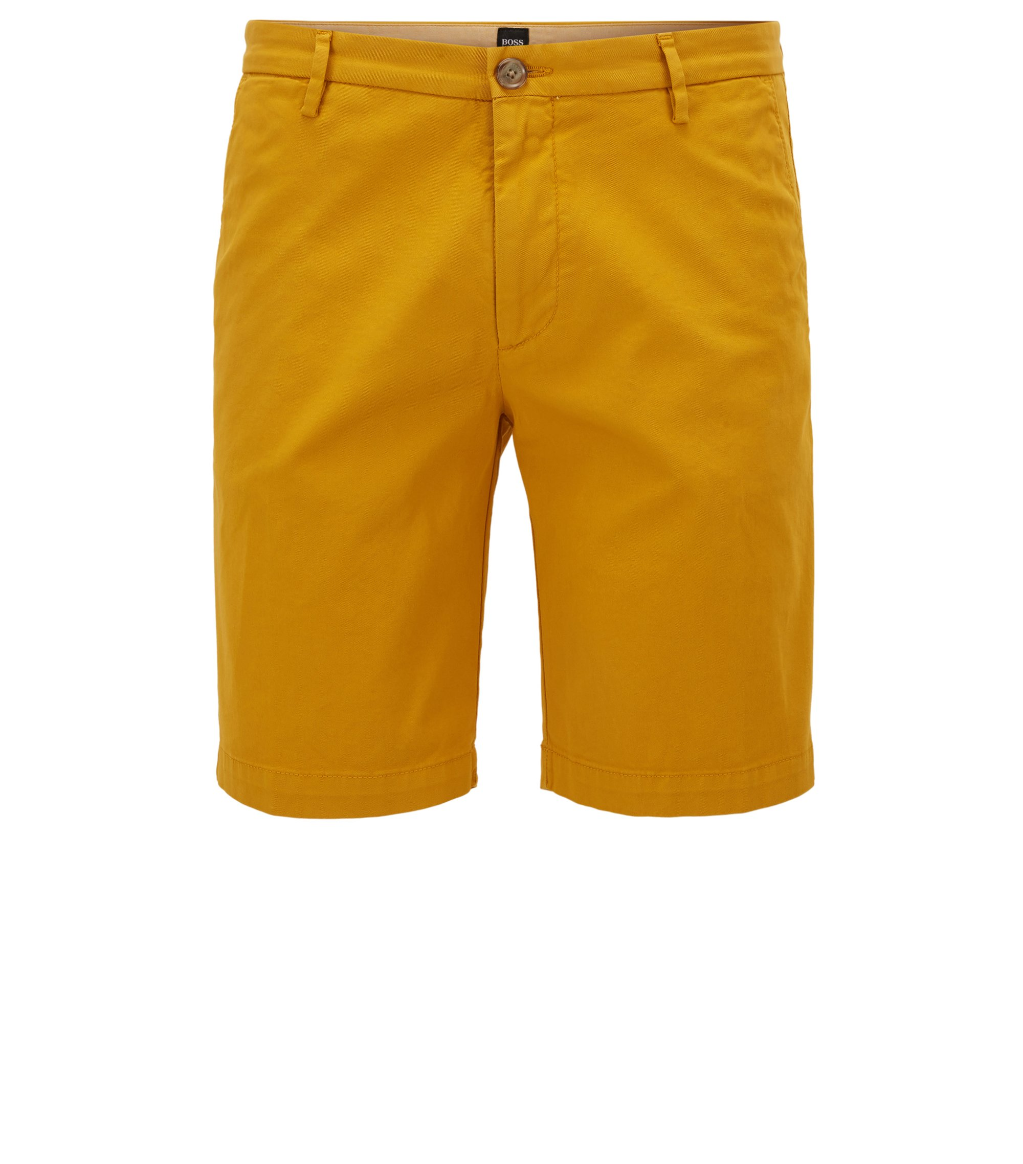 Slim-fit short in een gabardine van stretchkatoen, goud