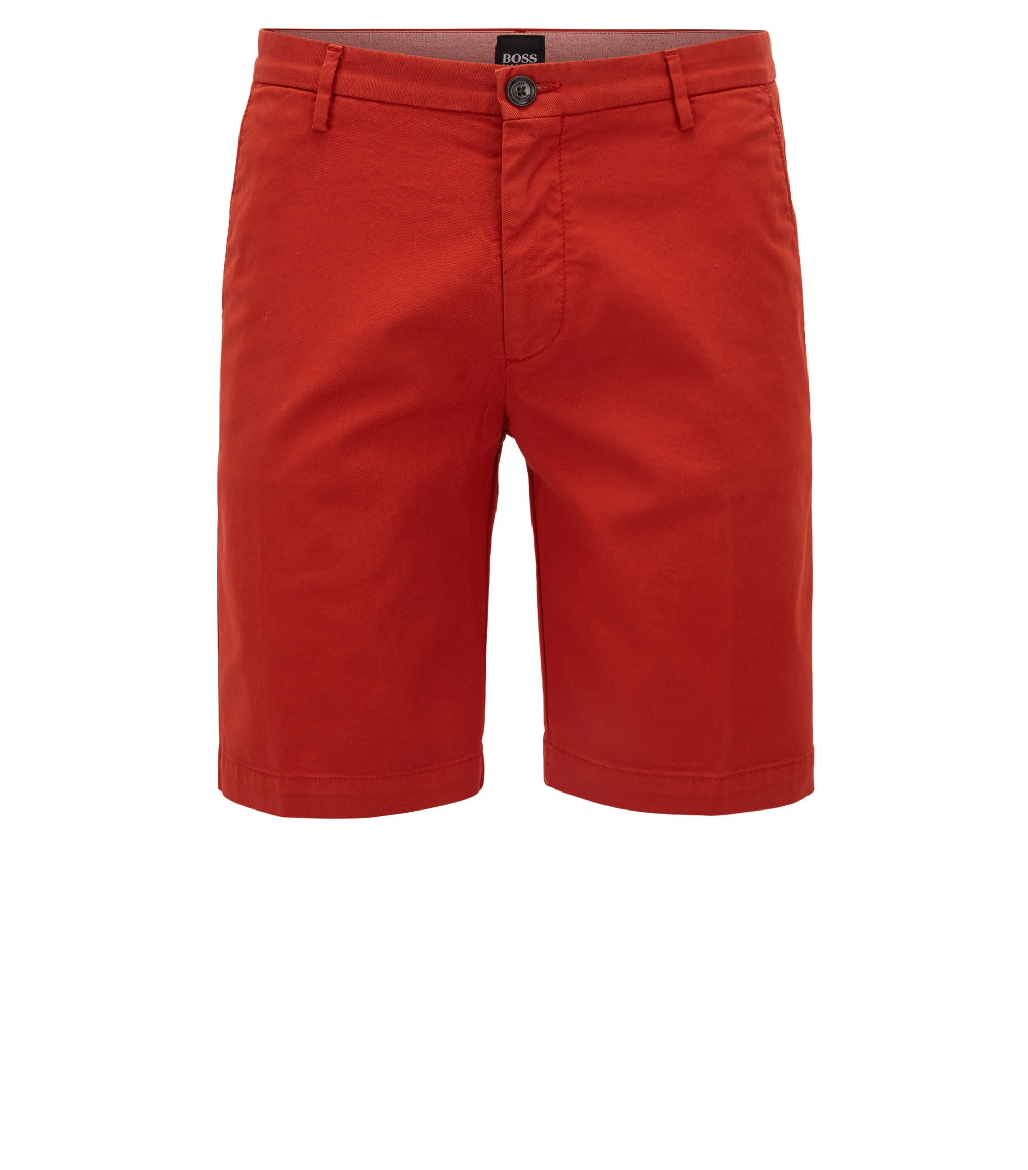 Slim-fit short in een gabardine van stretchkatoen, Donkeroranje