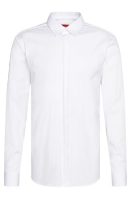 Slim-fit shirt in cotton with textured details: 'Eblack', Open White