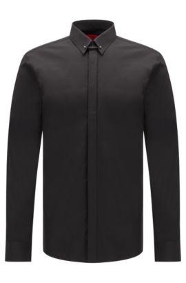 Slim-fit overhemd van katoen met kraagboord: 'Enzel', Zwart