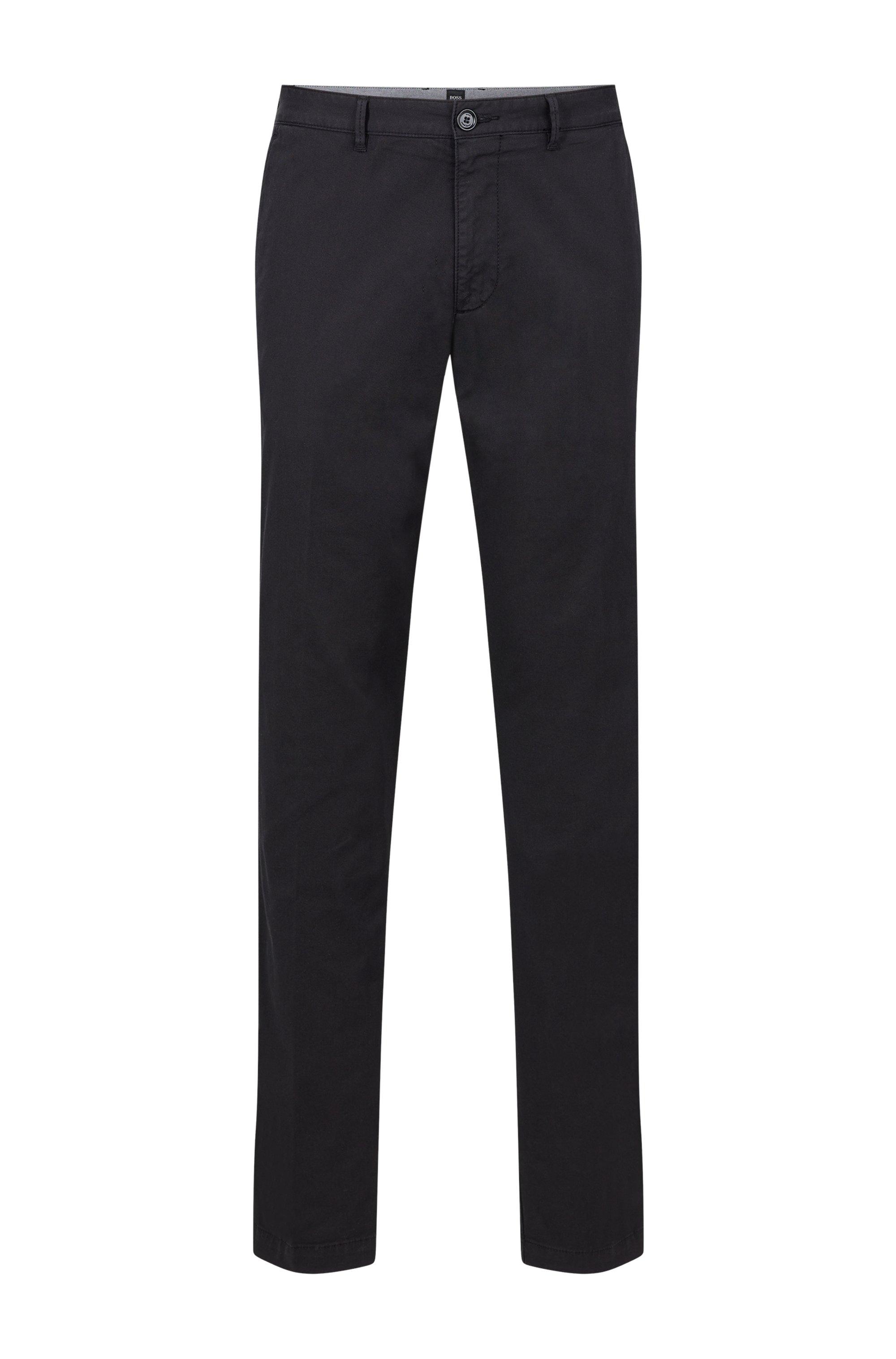 Regular-fit chinos in stretch-cotton gabardine, Black