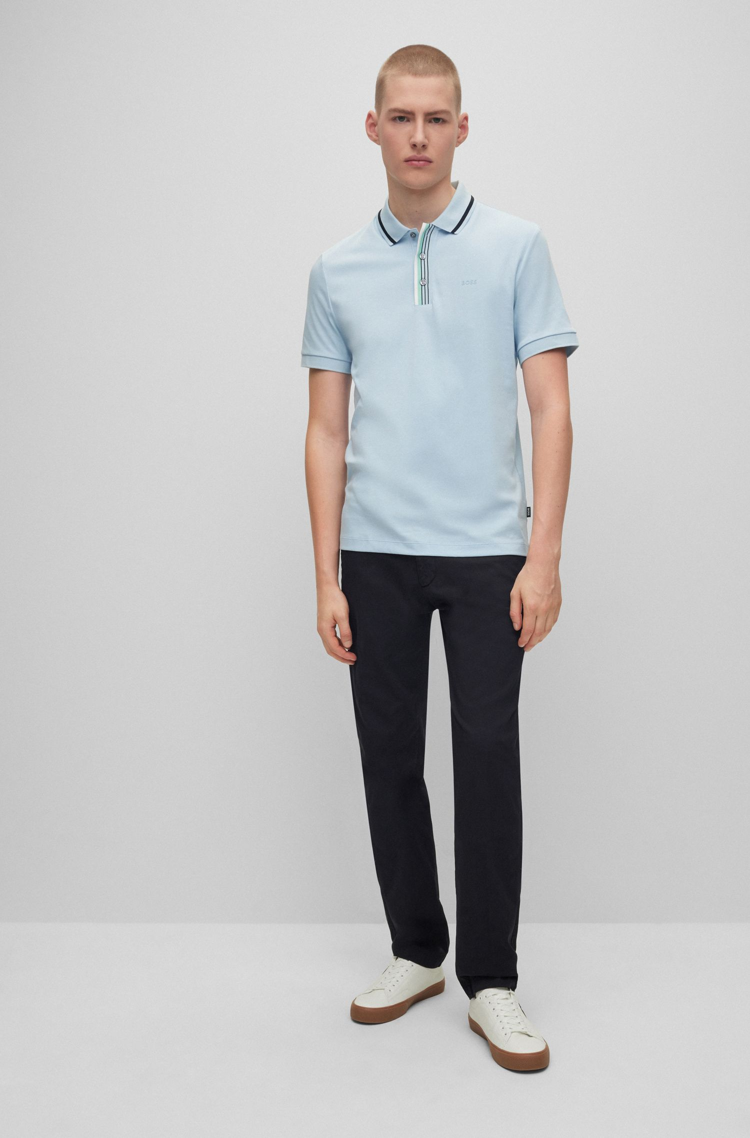Regular-fit chinos in stretch cotton gabardine, Black