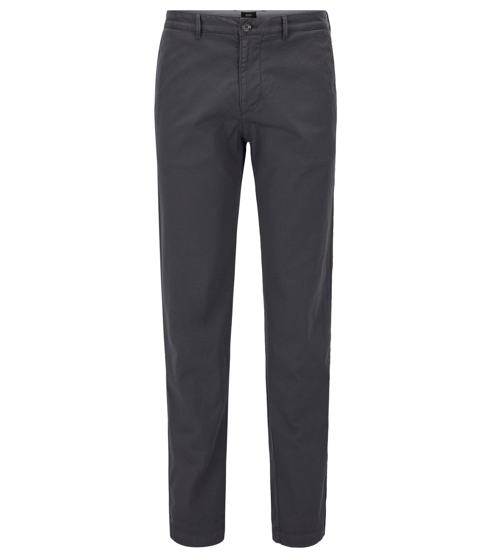 Regular-fit chino in een stretchkatoenen twill, Donkergrijs
