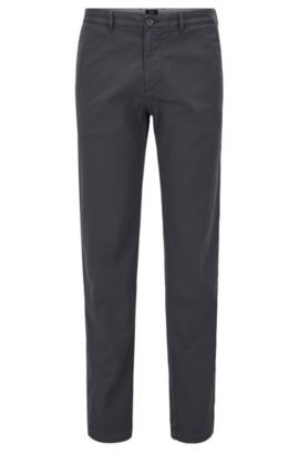 Chino Regular Fit en sergé de coton stretch, Gris sombre