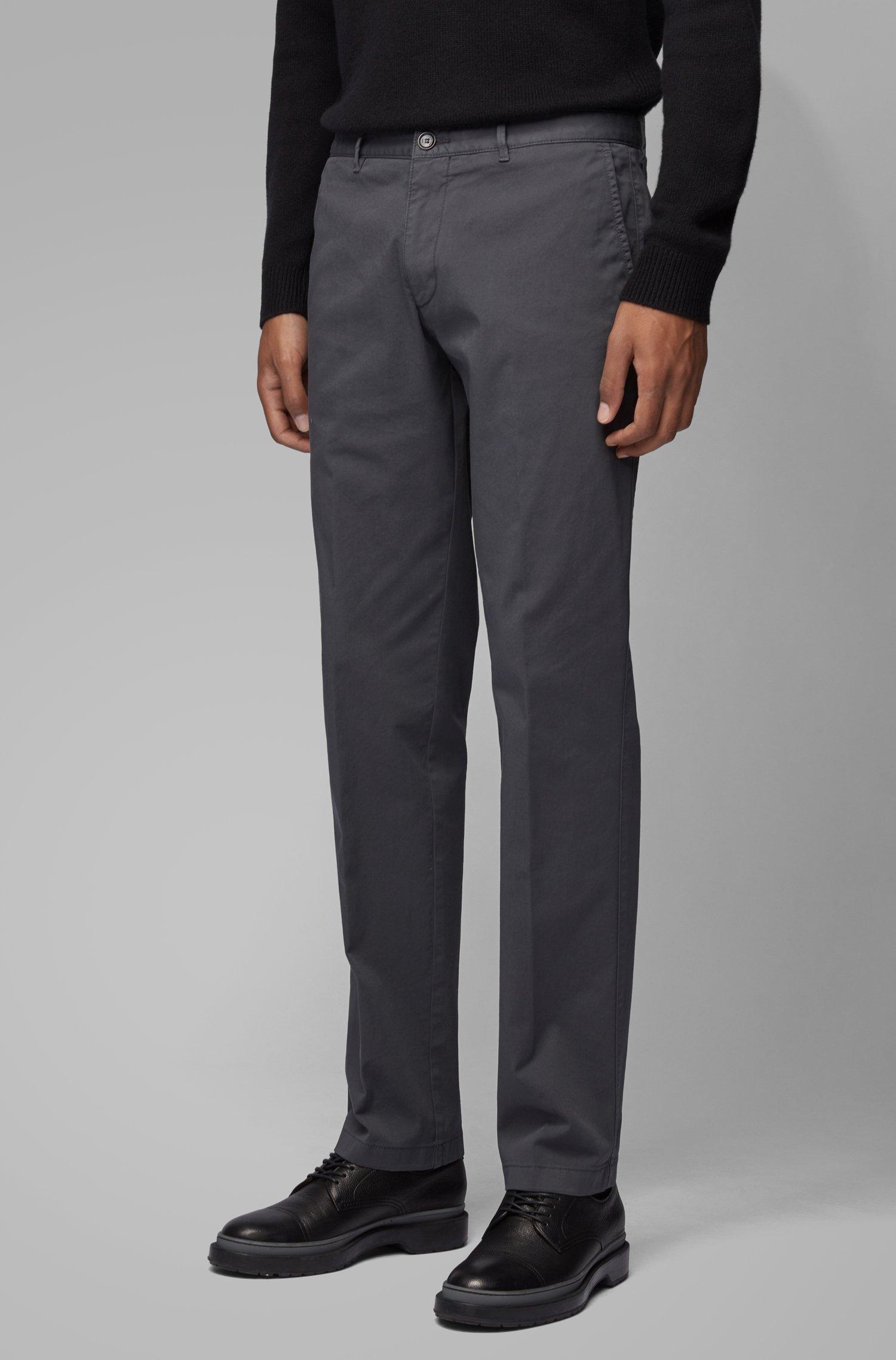 Regular-fit chinos in stretch-cotton gabardine, Dark Grey