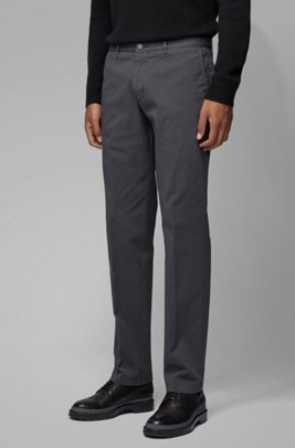 Regular-fit chinos in stretch cotton gabardine, Dark Grey