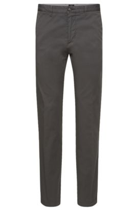 Regular-fit chinos in stretch cotton twill, Grey