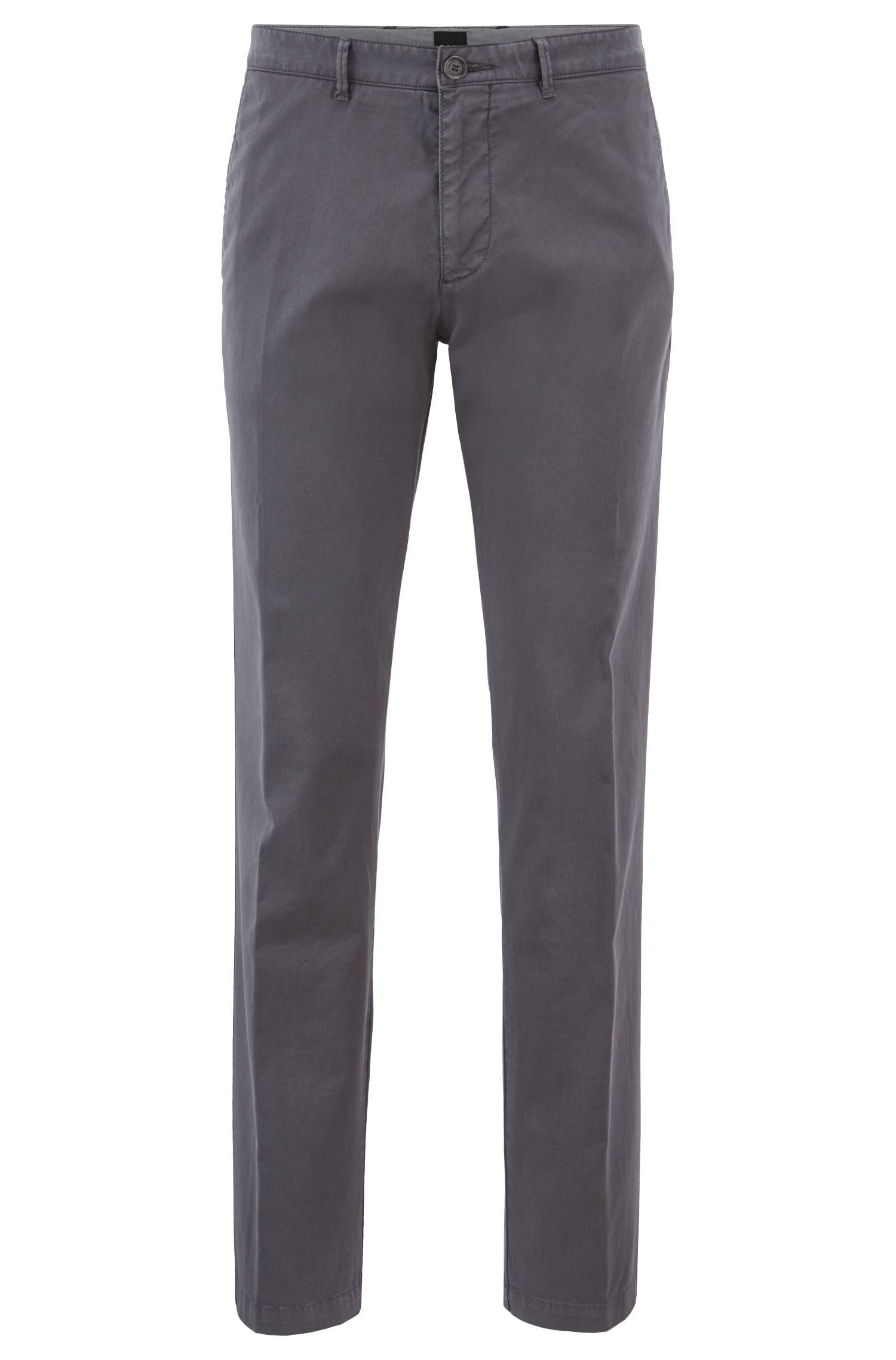 Regular-fit chinos in stretch cotton gabardine, Grey