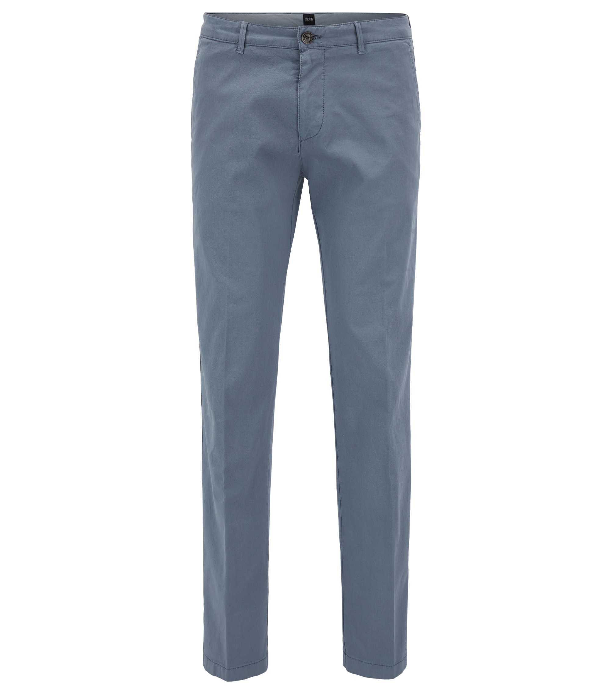 Chino Regular Fit en gabardine de coton stretch, Gris chiné