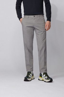 Regular-fit chinos in stretch cotton gabardine, Grey