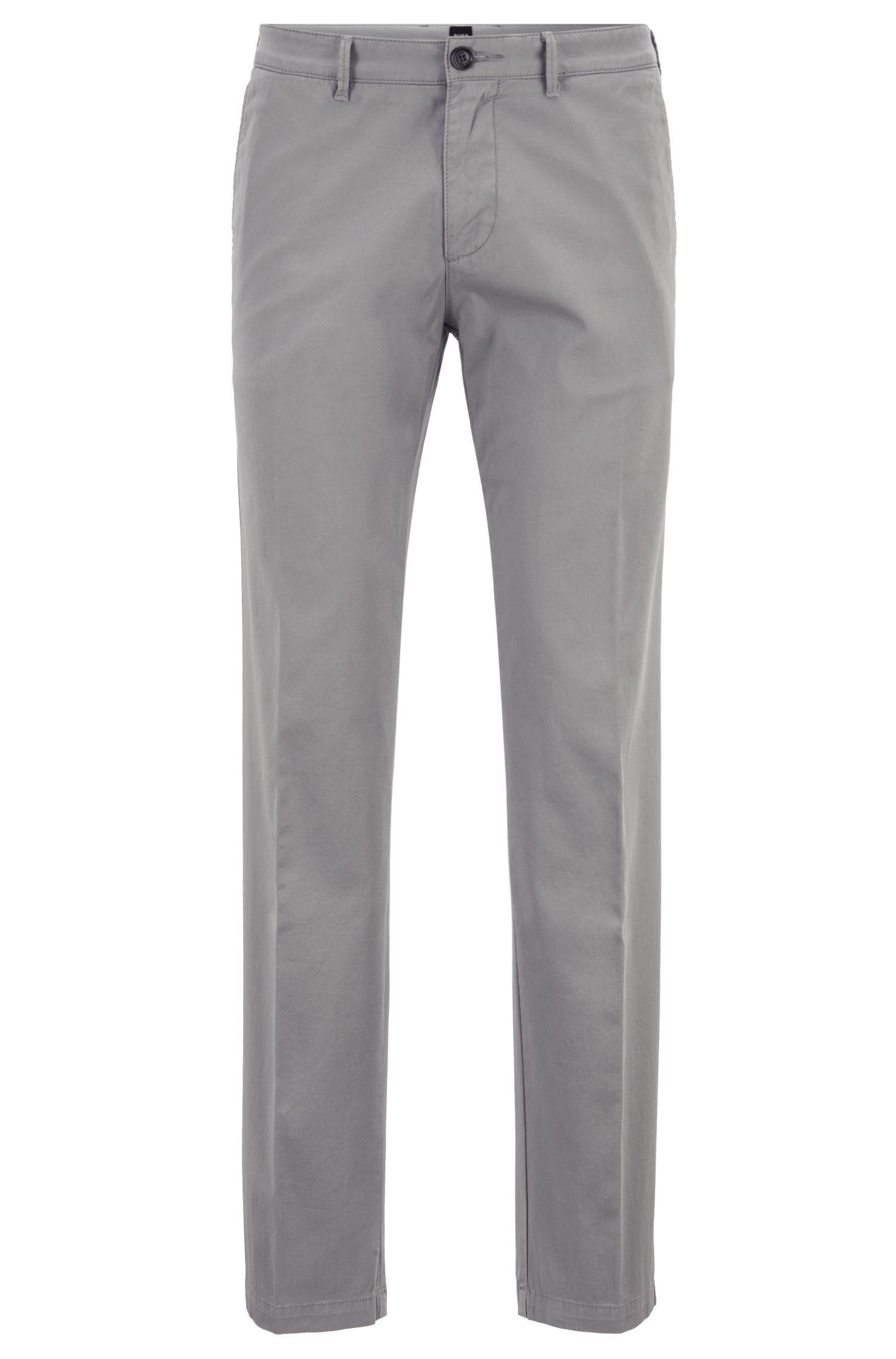 Regular-Fit Chino aus elastischer Baumwoll-Gabardine, Grau