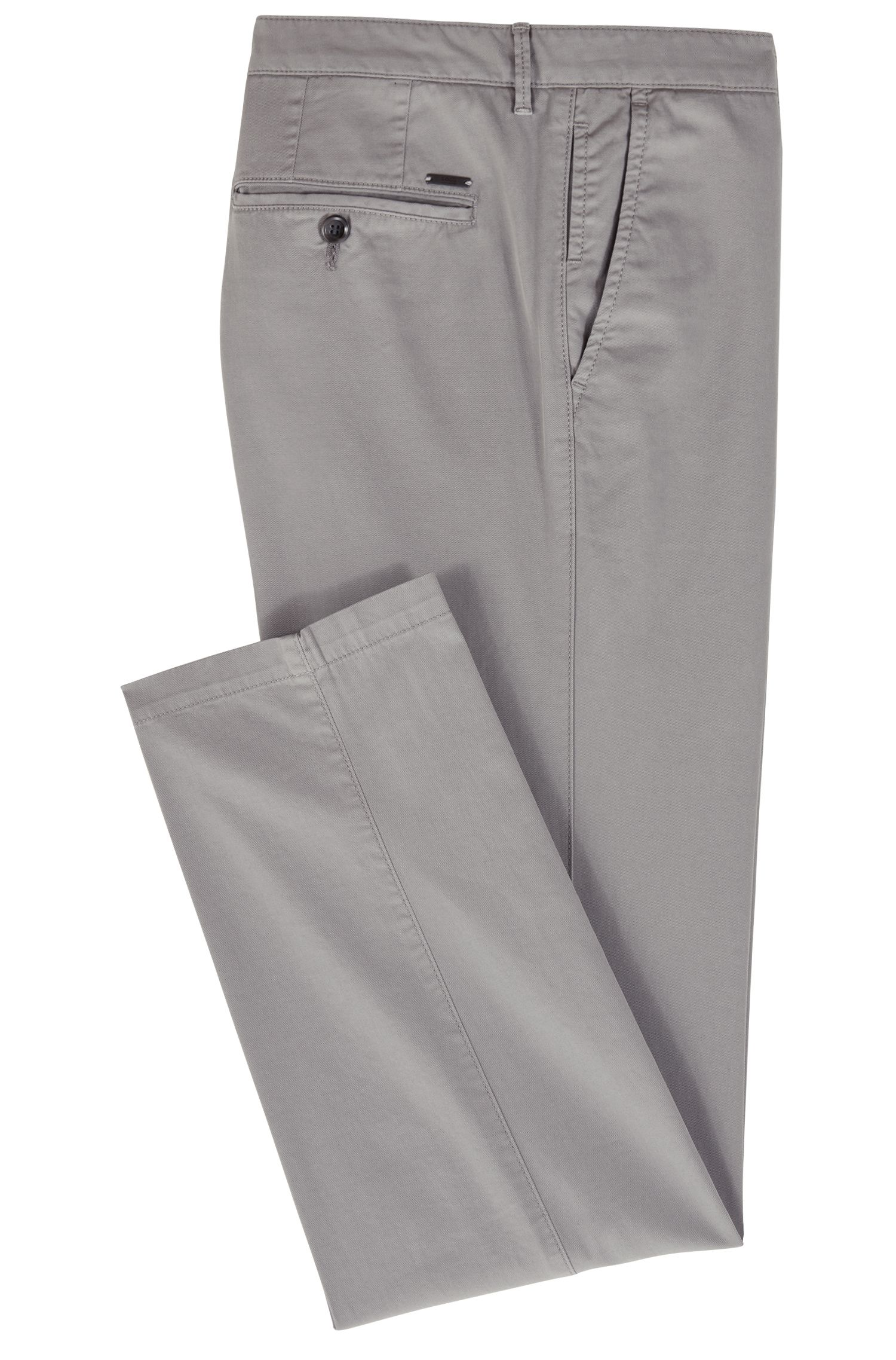 Chino Regular Fit en gabardine de coton stretch, Gris