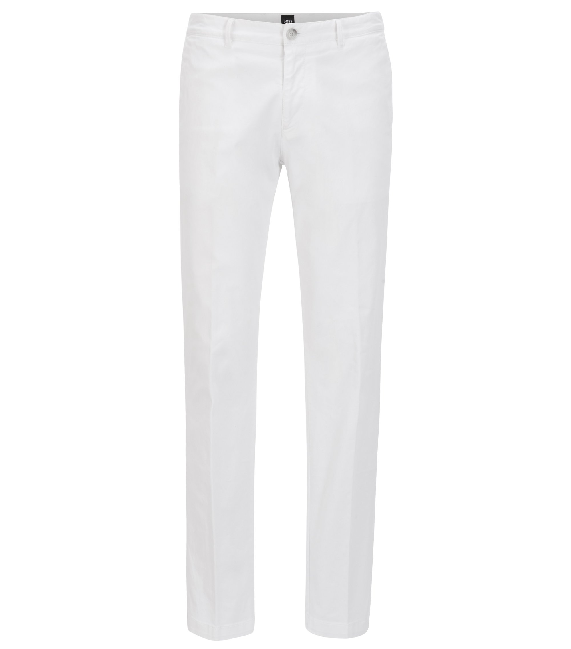 Regular-fit chino in een stretchkatoenen twill, Wit