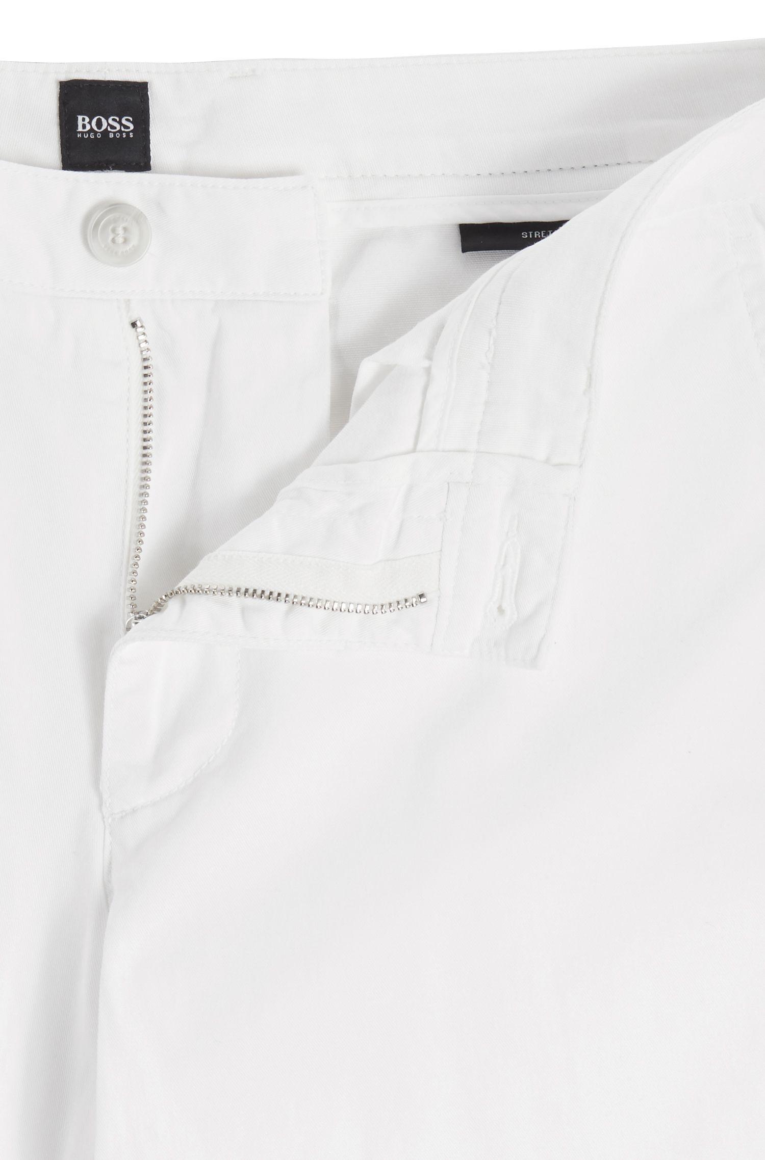 Chino Regular Fit en gabardine de coton stretch, Blanc