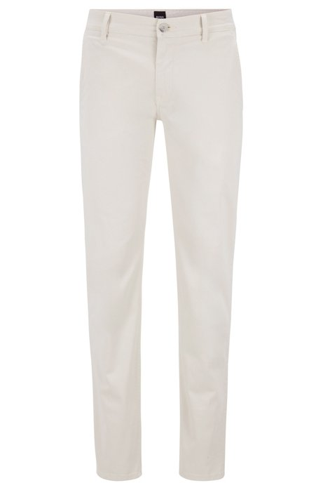 Regular-fit chinos in stretch cotton gabardine, Natural