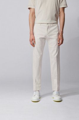 Chino Regular Fit en gabardine de coton stretch, Blanc