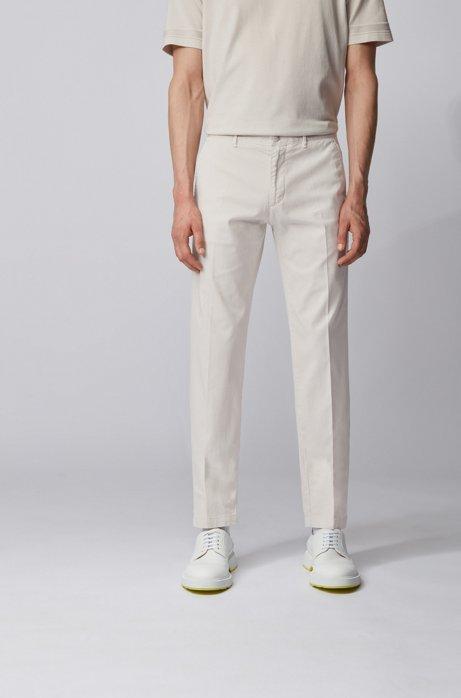 Chinos regular fit en tejido de gabardina de algodón elástico, Blanco