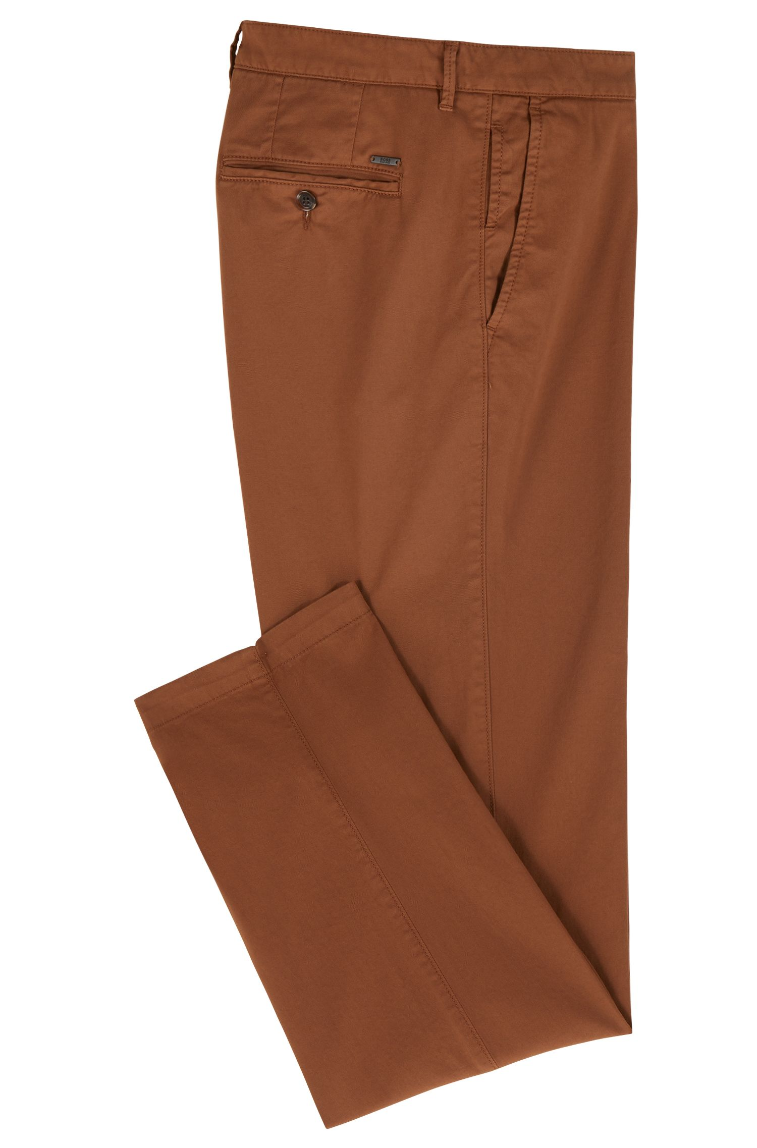 Regular-fit chinos in stretch cotton gabardine, Light Brown