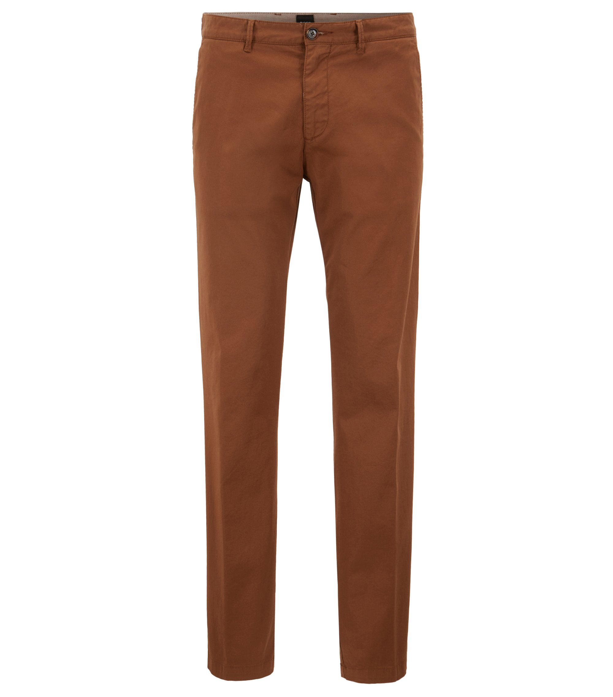 Chino Regular Fit en gabardine de coton stretch, Brun chiné
