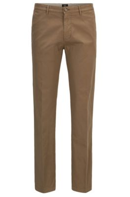 Chino Regular Fit en gabardine de coton stretch, Beige
