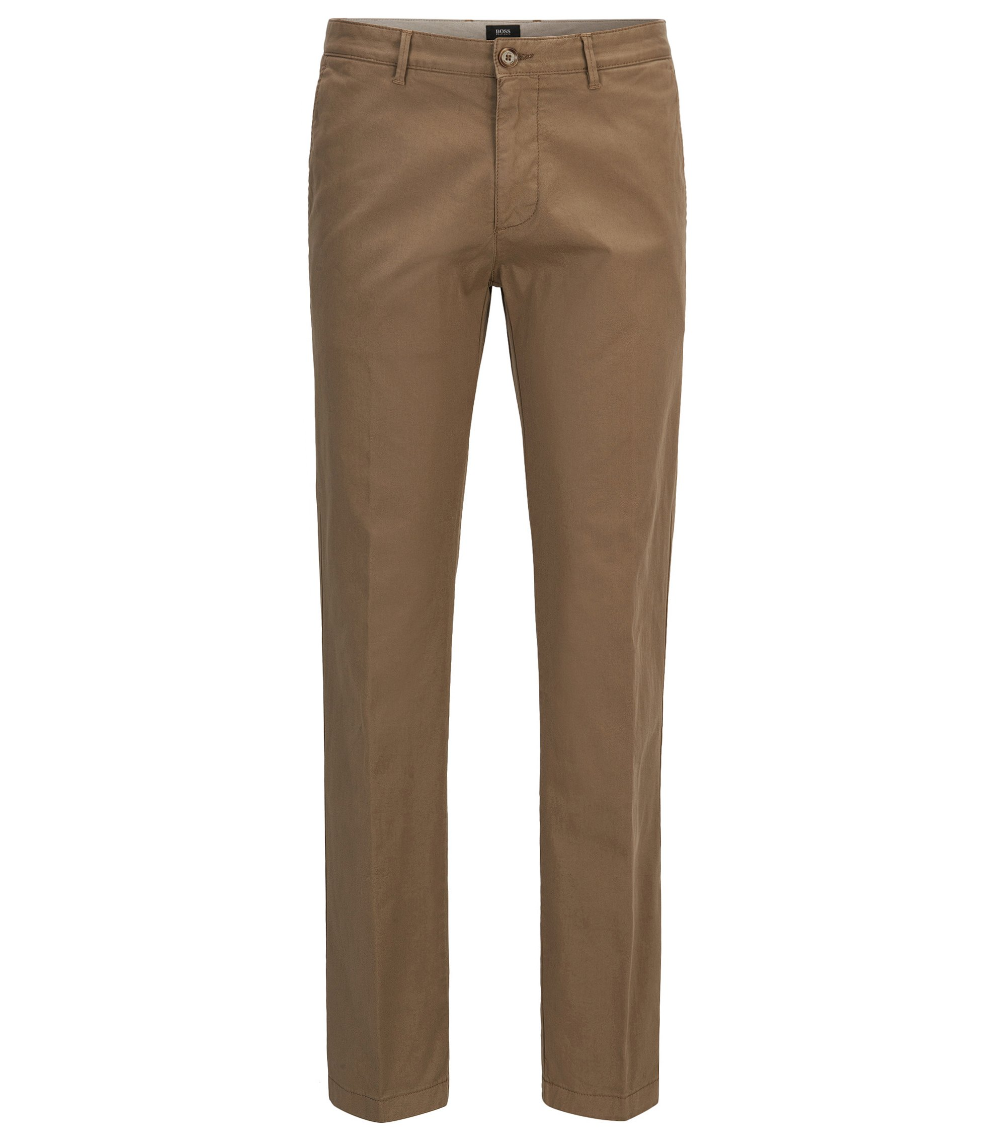 Chino regular fit in twill di cotone elasticizzato, Beige