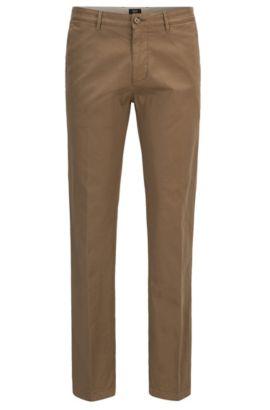 Regular-fit chinos in stretch cotton twill, Beige