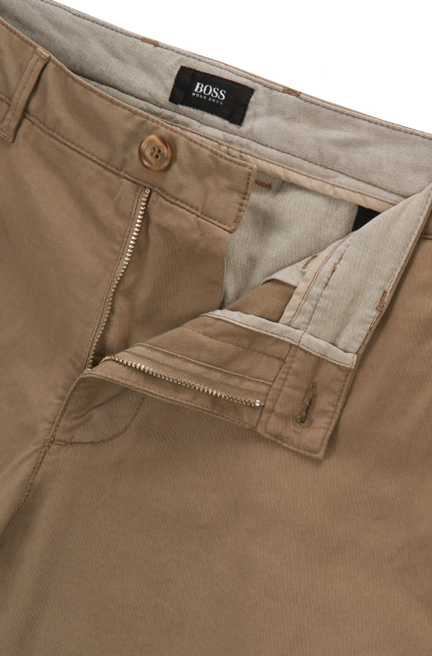 Regular-fit chino in een gabardine van stretchkatoen