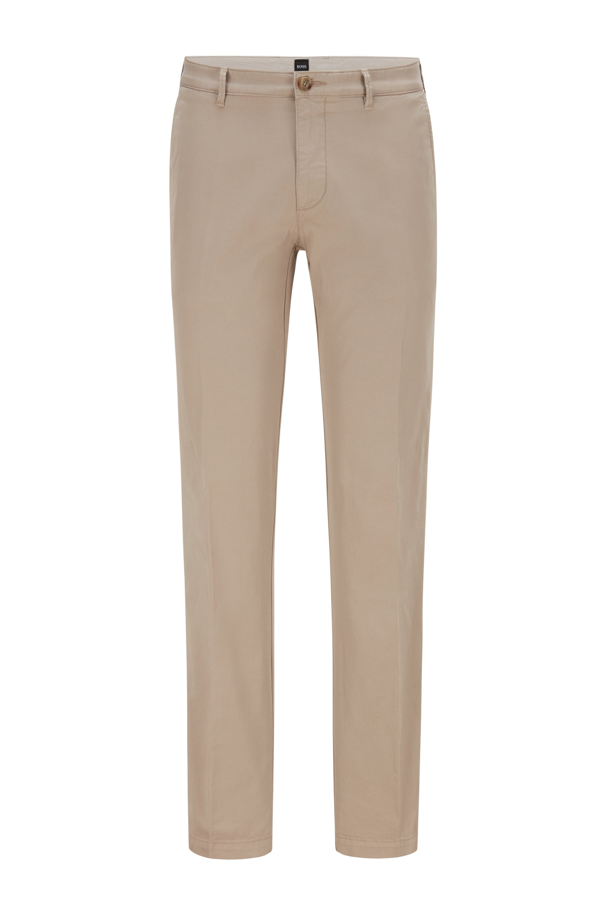 Regular-fit chinos in stretch-cotton gabardine, Beige