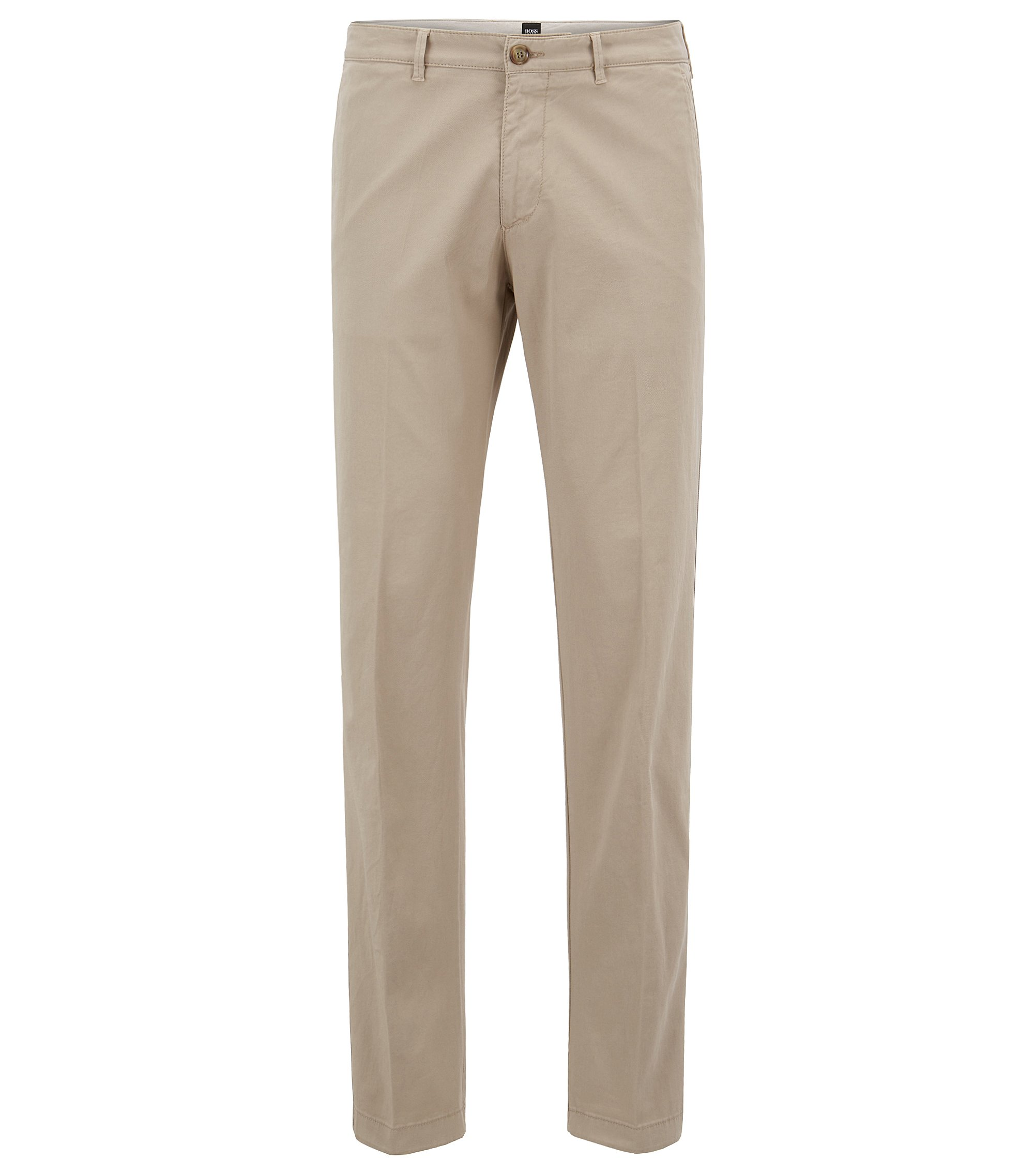 Chino regular fit in gabardine di cotone elasticizzato, Beige