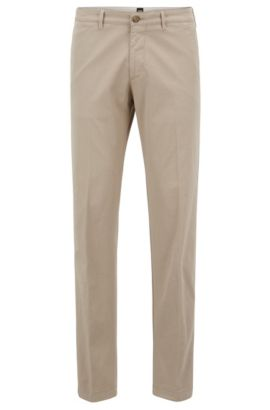Chino Regular Fit en sergé de coton stretch, Beige