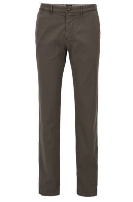 Regular-fit chino in een stretchkatoenen twill, Kalk