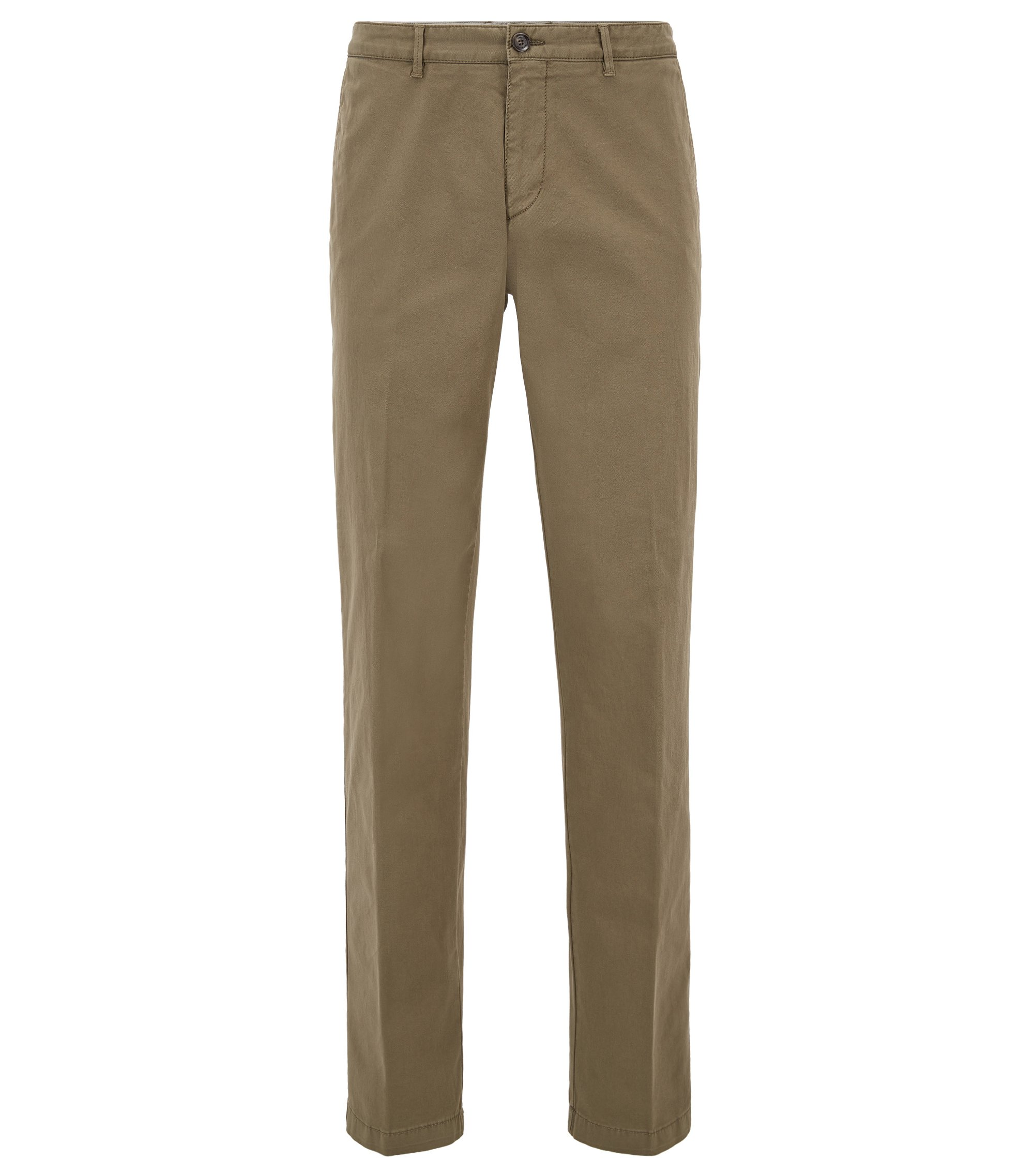 Chino Regular Fit en gabardine de coton stretch, Vert sombre