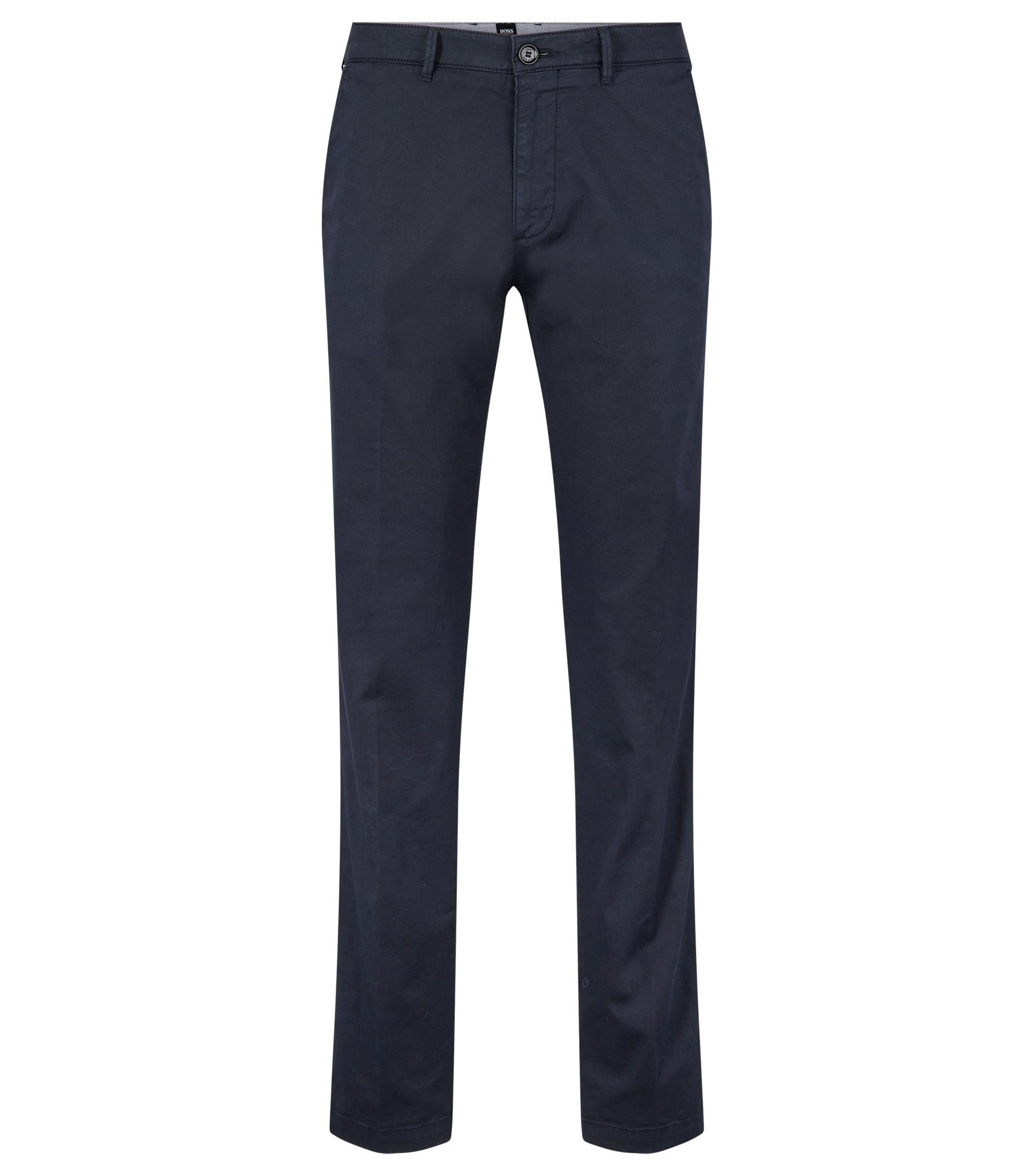 Chino regular fit in gabardine di cotone elasticizzato, Blu scuro