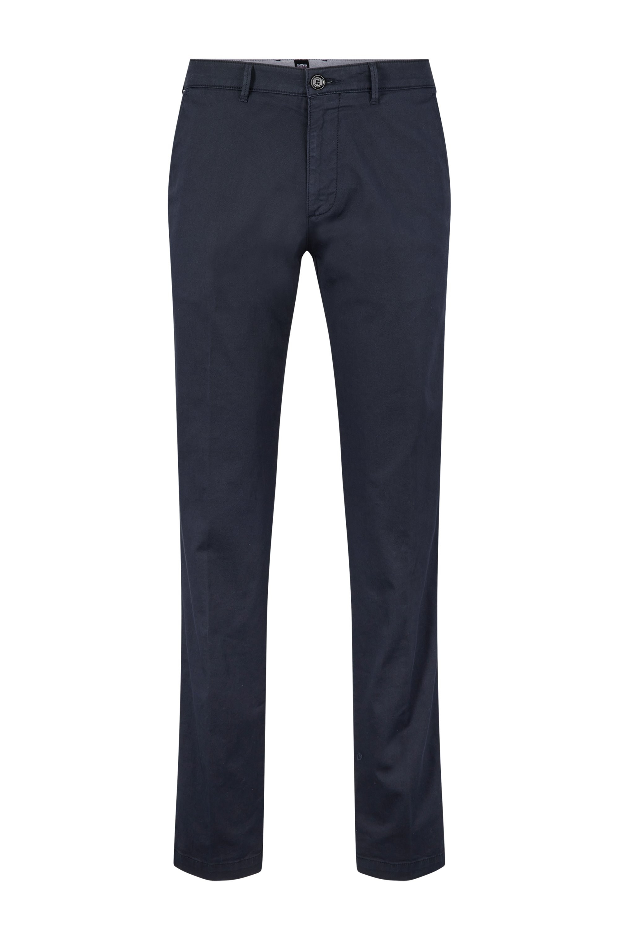 Regular-fit chinos in stretch-cotton gabardine, Dark Blue