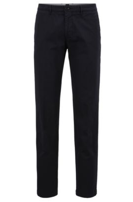 Chino Regular Fit en sergé de coton stretch, Bleu foncé