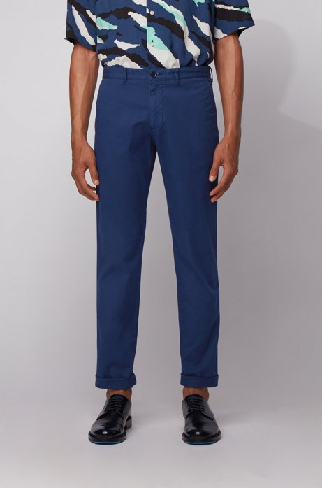 Chino Regular Fit en gabardine de coton stretch, Bleu foncé