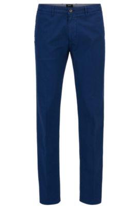 Chino Regular Fit en sergé de coton stretch, Bleu foncé