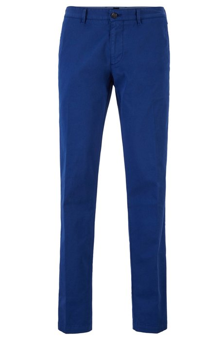 Regular-fit chinos in stretch cotton gabardine, Dark Blue