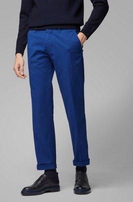 Regular-fit chinos in stretch-cotton gabardine, Dark Blue