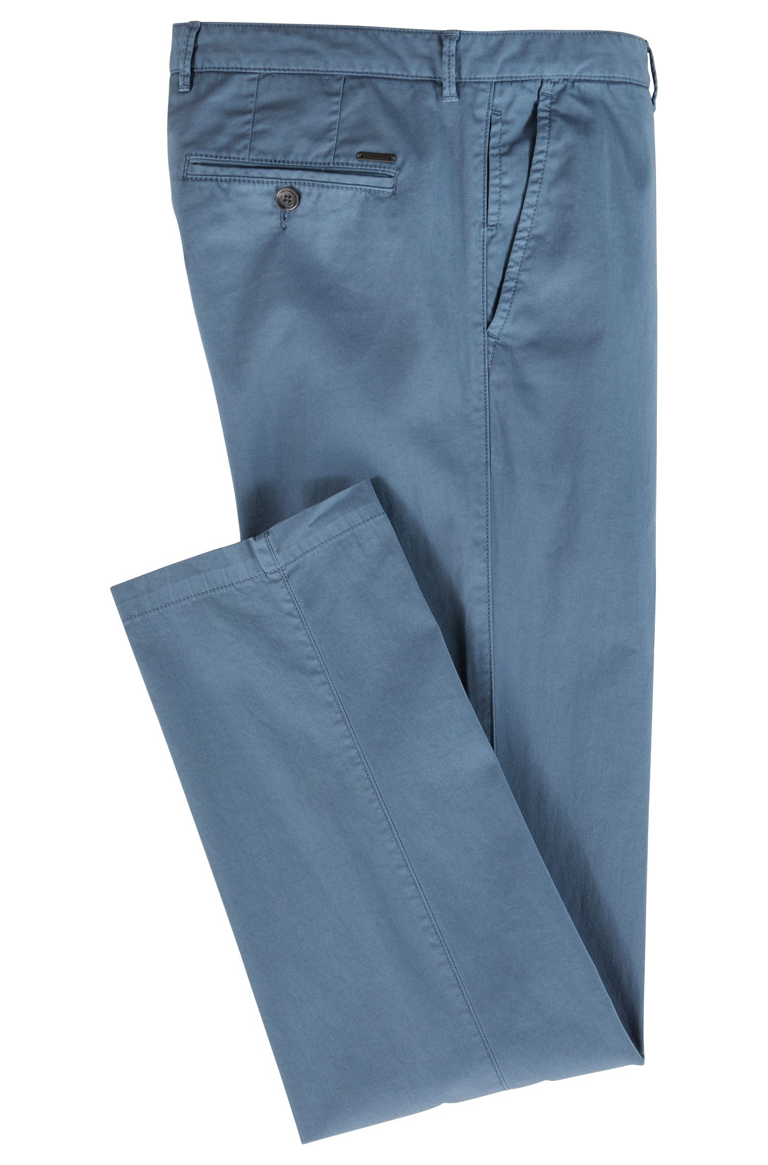Chinos regular fit en tejido de gabardina de algodón elástico, Azul