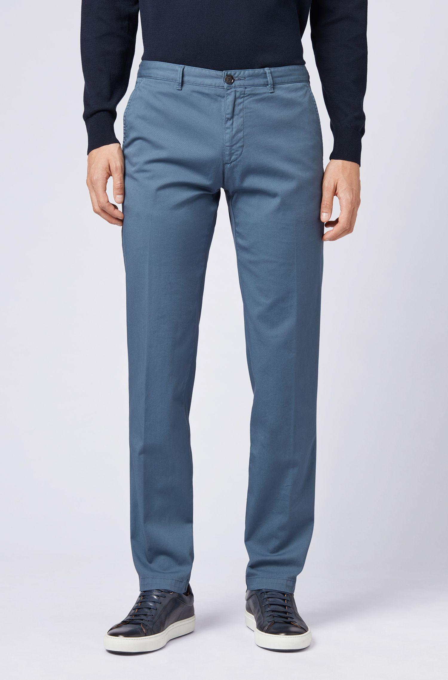 Chino regular fit in gabardine di cotone elasticizzato, Blu