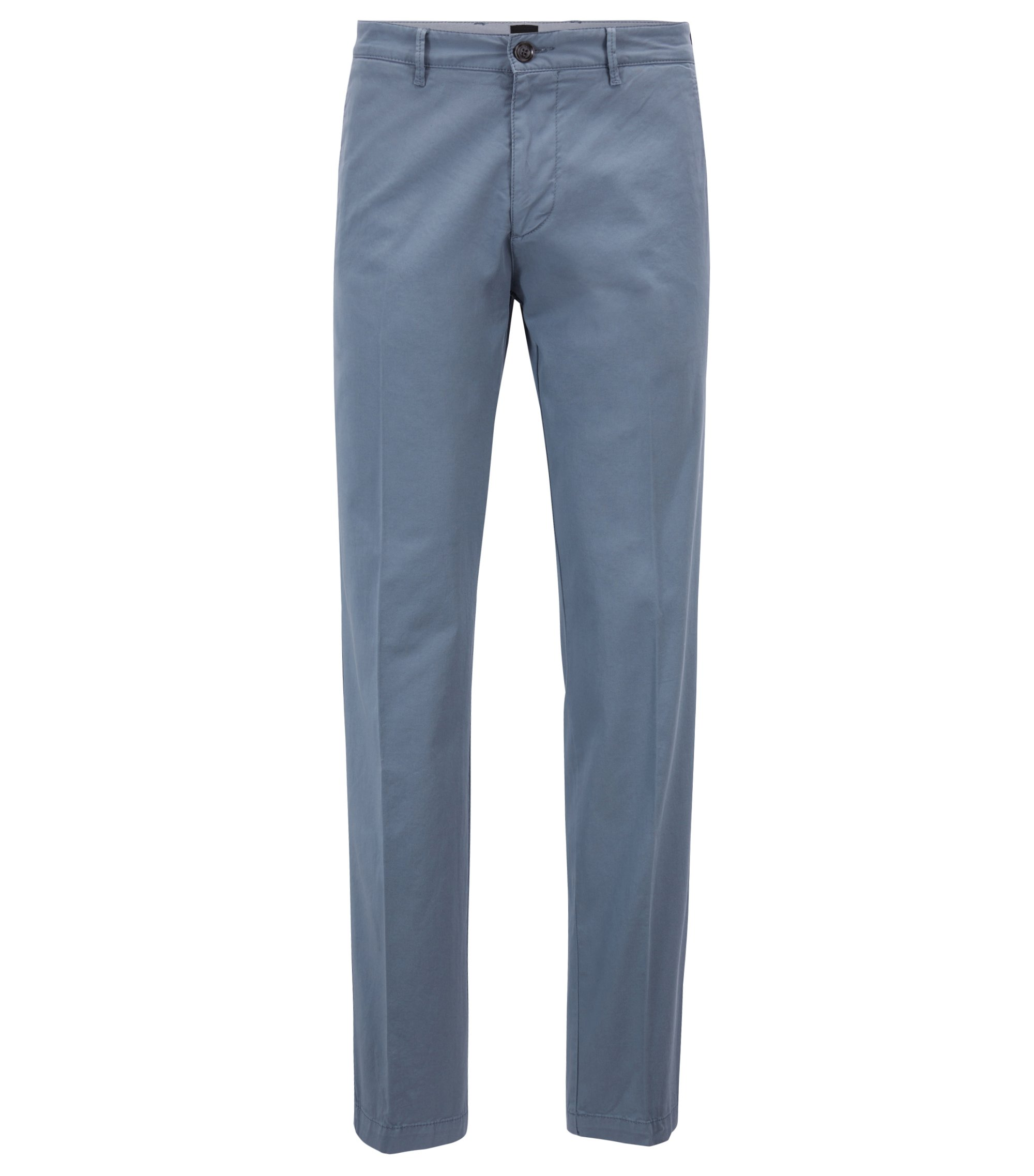 Regular-fit chinos in stretch cotton gabardine, Light Blue