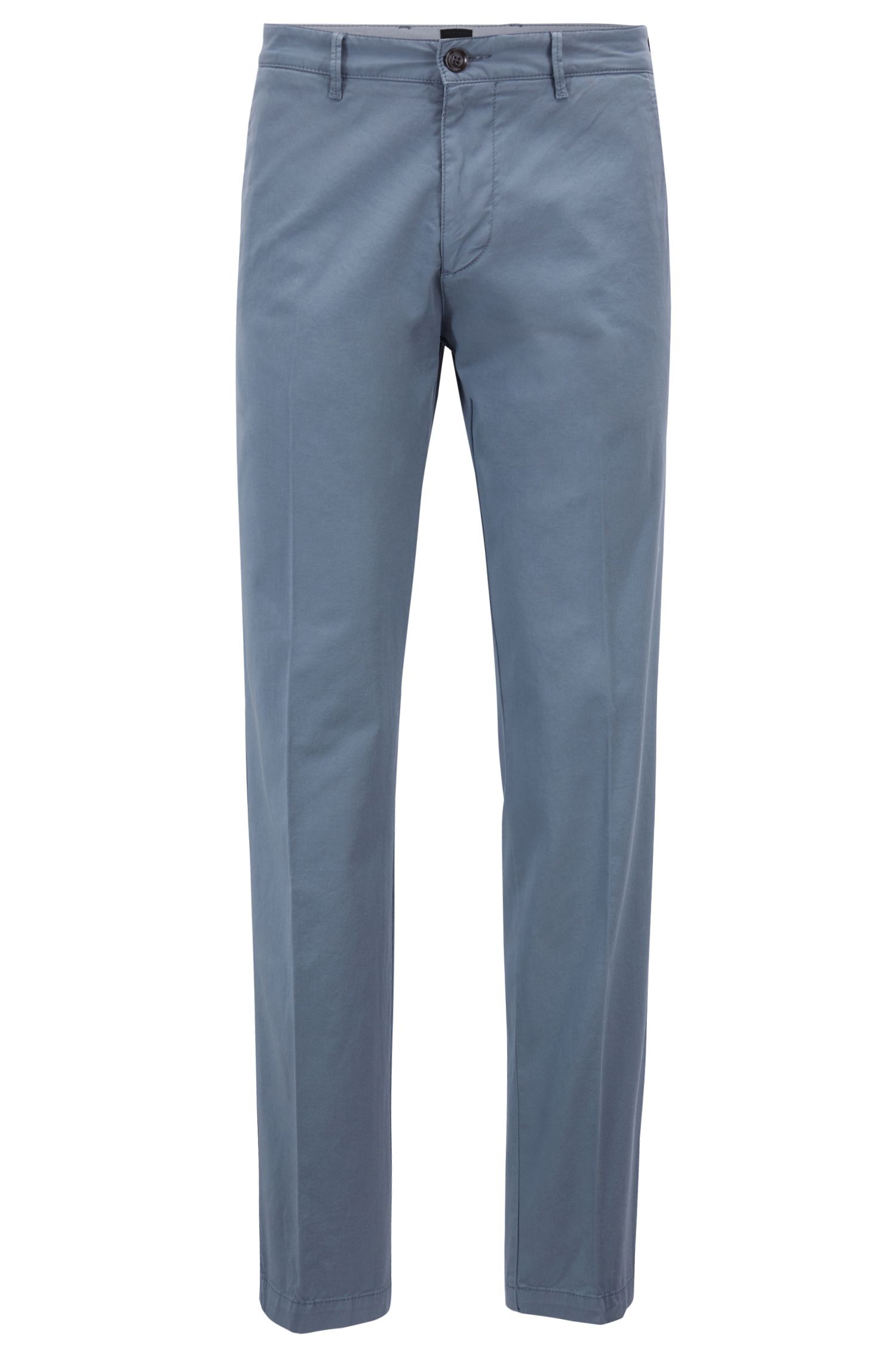 Chino regular fit in gabardine di cotone elasticizzato, Celeste