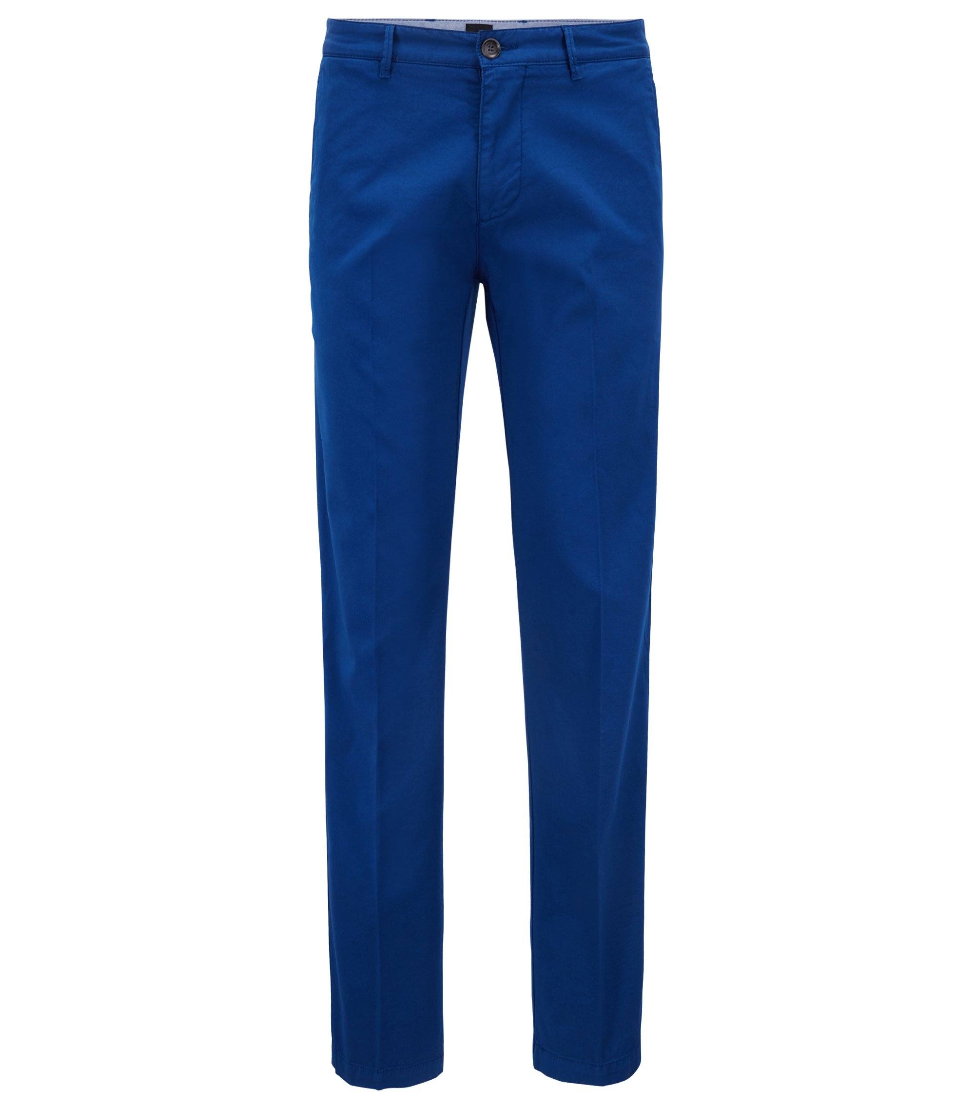 Chino regular fit in gabardine di cotone elasticizzato, Blu