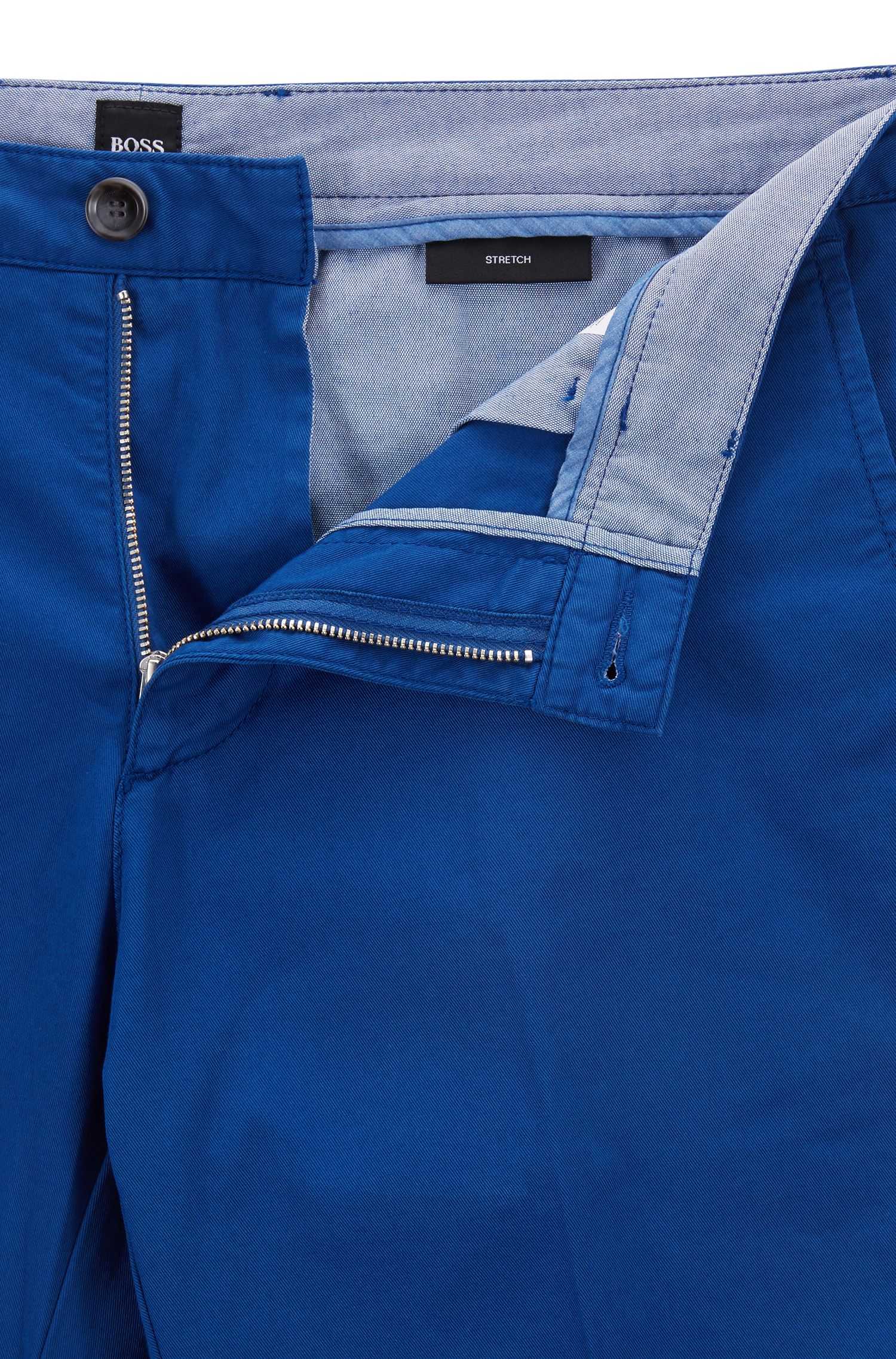 Regular-fit chino in een gabardine van stretchkatoen, Blauw