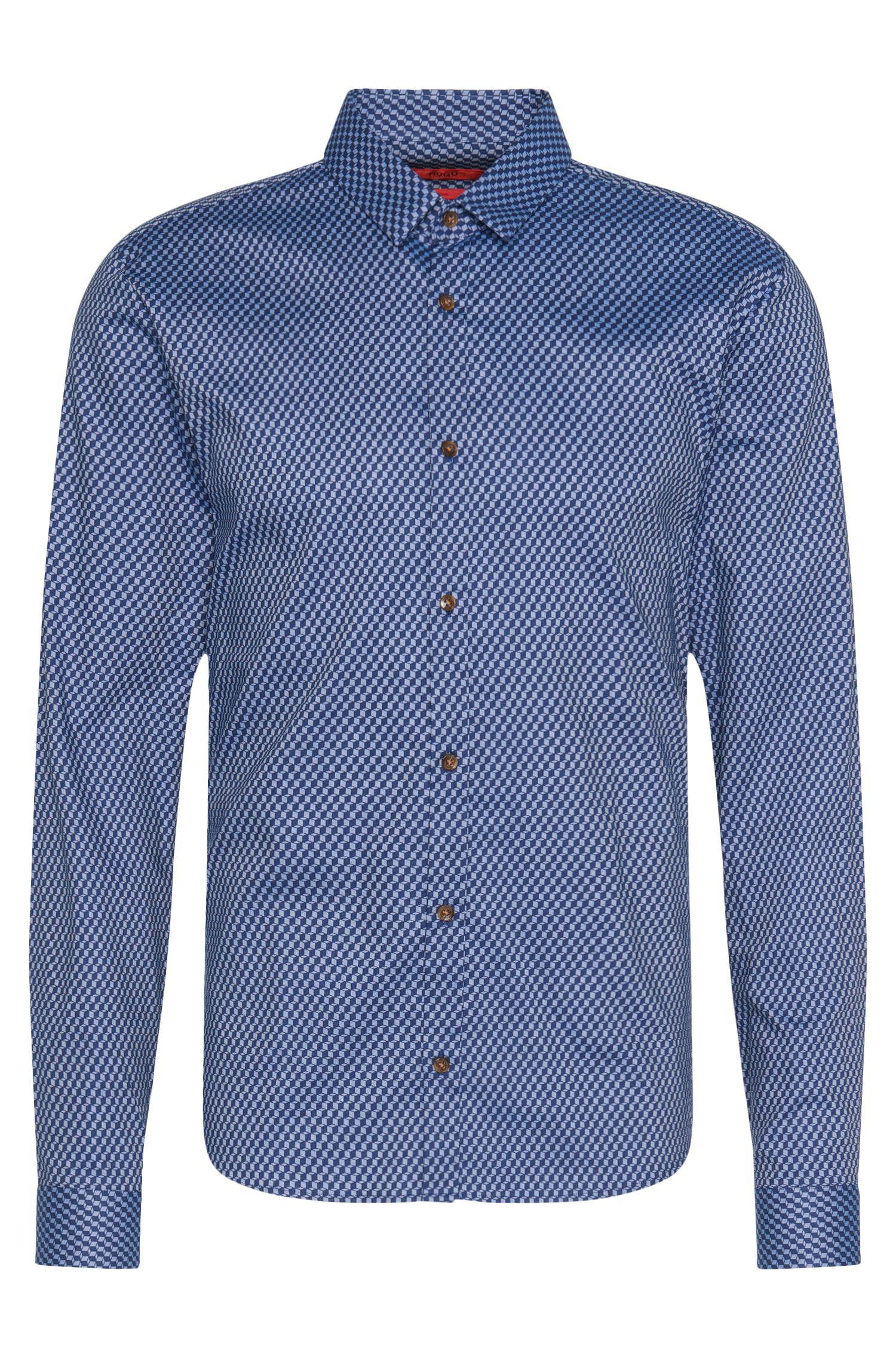 Gemustertes Slim-Fit Hemd aus Baumwolle: 'Ero3'