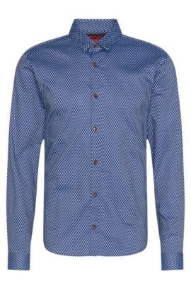 Chemise Slim Fit à motif en coton: «Ero3», Bleu foncé