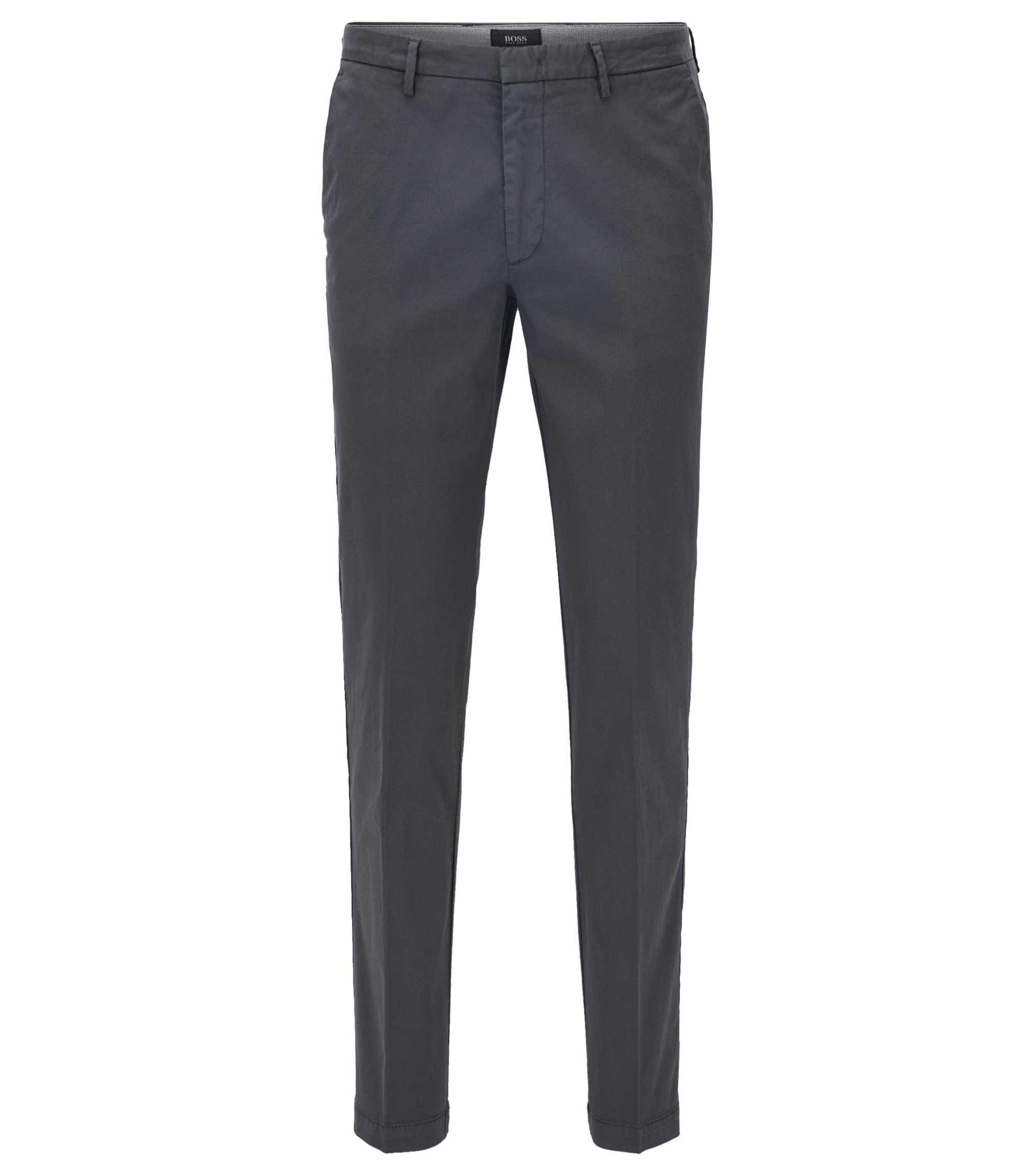 Slim-fit chinos in stretch twill, Dark Grey