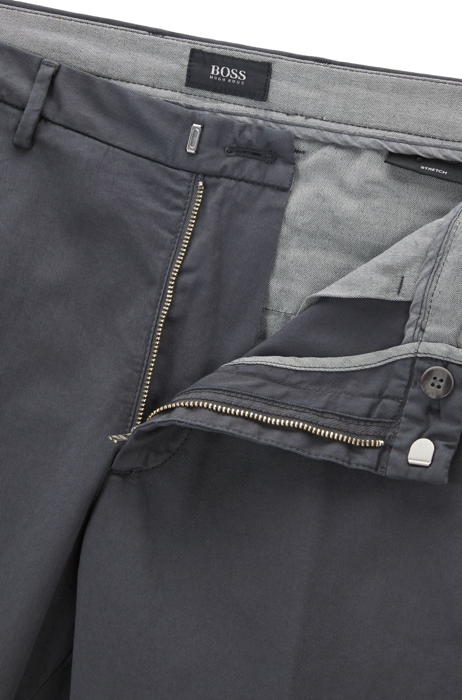 Slim-fit chino in een gabardine van stretchkatoen