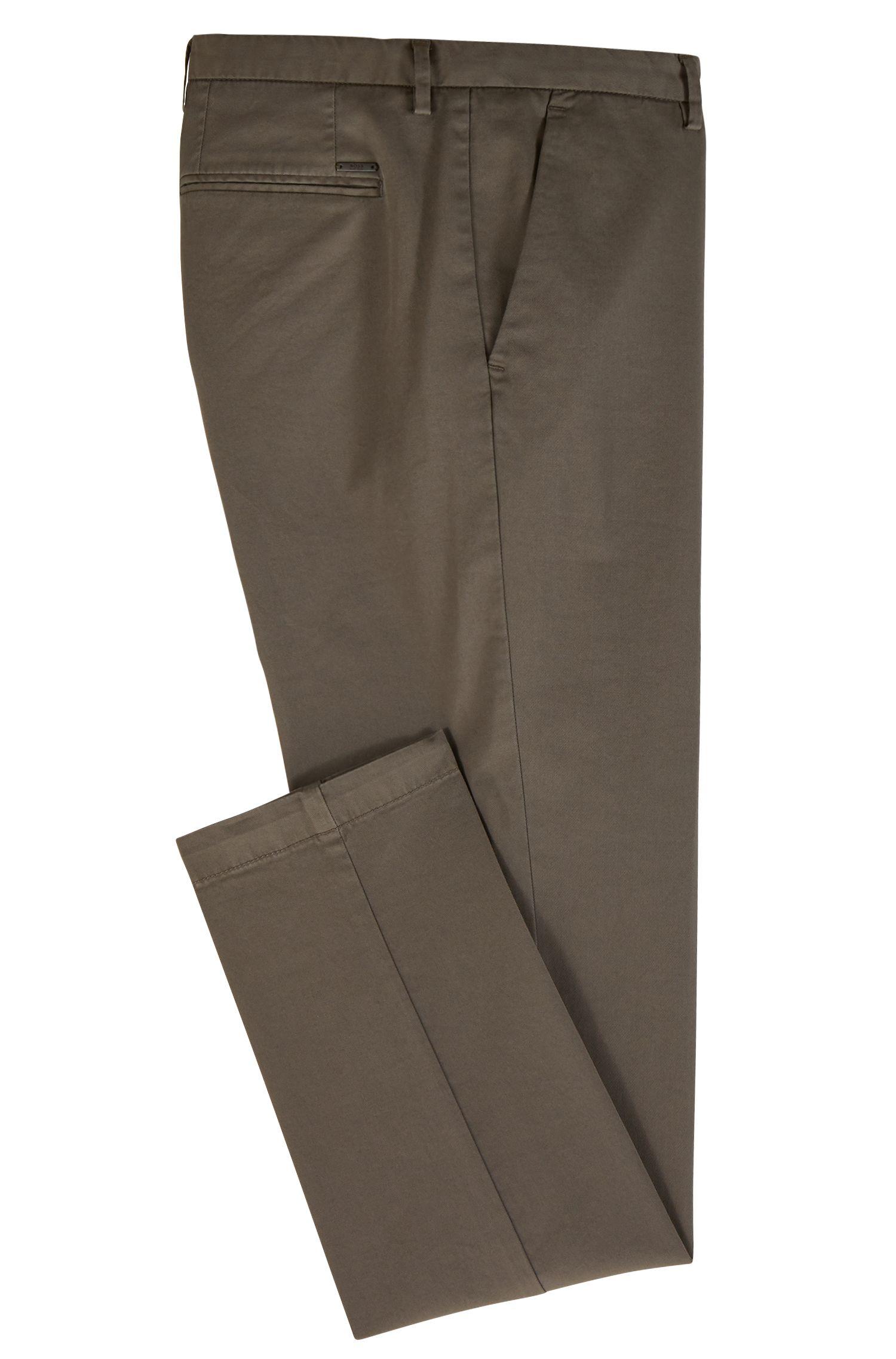 Slim-fit chinos in stretch cotton gabardine, Brown